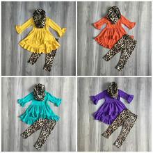 Nieuwe Herfst/winter baby meisjes 3 stuks sjaal kinderen kleding mosterd luipaard jurk top katoen lange mouwen outfits ruches boutique