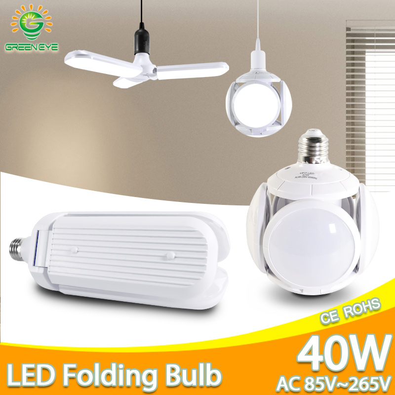 LED Bulb E27 60W 40W 30W 9W AC85-265V LED Folding Leaf Lamp Bombilla Lampada LED Light Football UFO Lamp LED Bulb For Home