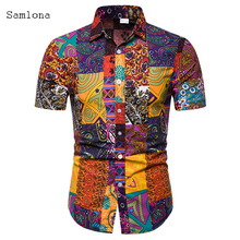 Plus size 4xl 5xl Men's Blouse 2020 New Summer Casual 3D Print Tops Male Leisure  Lapel Neck Long Sleeve Loose Shirt Blouses cambofoto tripod professional portable travel aluminium camera tripod accessories stand with pan head for canon dslr camera