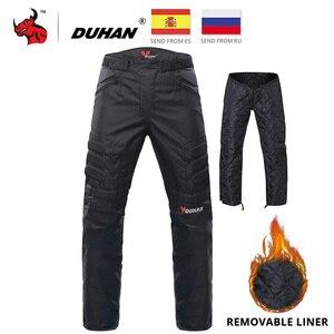 Image 1 - Pantaloni da Moto DUHAN pantaloni da Moto fuoristrada da Moto invernali a prova di freddo pantaloni protettivi da Moto con fodera in cotone