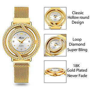 Image 3 - MISSFOX içi boş kadınlar için Milan örme kayış tam elmas izle bayanlar altın lüks moda Rado kol saati erkek saat saat