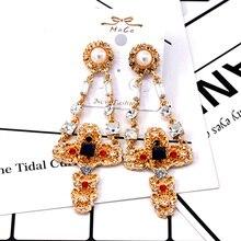 Luxury Baroque gold Cross Earrings for Women  Bohemian Crystal Drop Dangle Statement earrings Fashion Jewelry