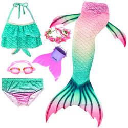 BUTUIERN Bikini Kids Mermaid Costume Mermaid Tails for Swimming Monofin Swimming with Tail Fin Garland