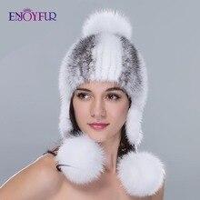 Chapéu de pele de vison real com pom pom de pele quente malha proteção de orelha beanies