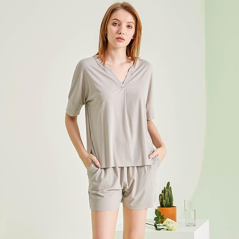 Summer Women Sleepwear Cute Modal Pajamas Set Sweet Short Sleeve Shirt & Shorts Outside Home Clothing Nightgowns Solid Color Pjs