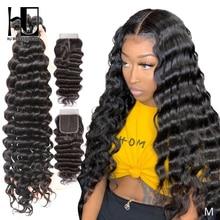 人間の髪のバンドル閉鎖ルースディープ波ブラジル毛織りバンドルレミーヘアエクステンションで 4 × 4 レースフロント閉鎖