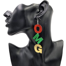 Color Acrylic Long Letter Drop Earrings For Women Hip Hop Night Club Jewelry