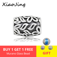 XiaoJing 925 sterling silver Flowers and leaves charms bead fit Original pandora charm Bracelet beads diy jewelry for women gift