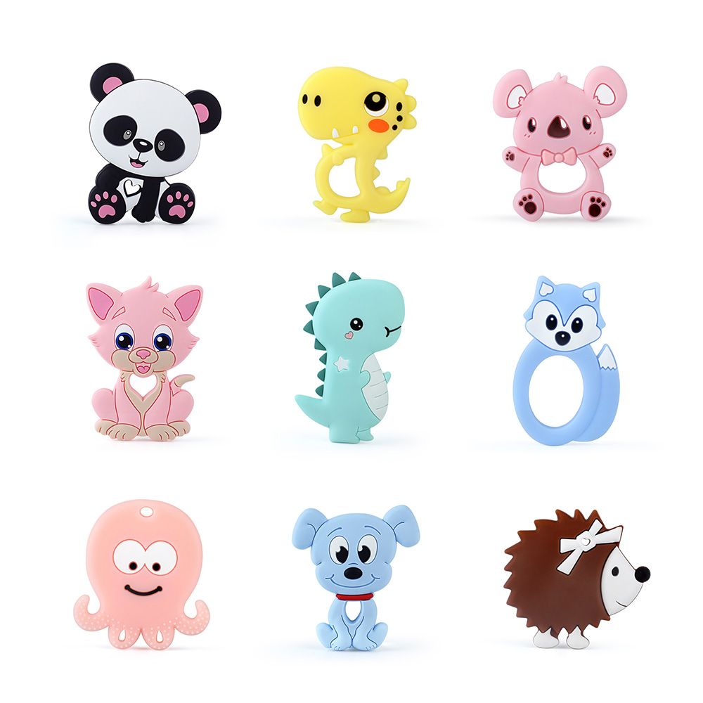 Keep&Grow 1pc Silicone Animal Baby Teethers Food Grade Rodents Koala Dog Dinosaur Teether Silicone Beads Teething Toy Gifts
