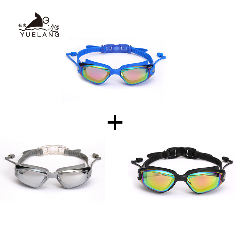 3 Pcs Swimming Goggles Earplugs Waterproof Glasses Electroplate Anti-Fog Anti-UV Pull Buckle Adult Silicone Professional Goggles