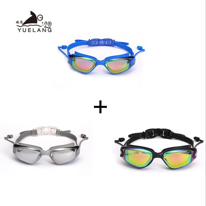 3 Pcs Swimming Goggles Earplugs Waterproof Glasses Electroplate Anti-Fog Anti-UV Pull Buckle Adult Silicone Professional Goggles