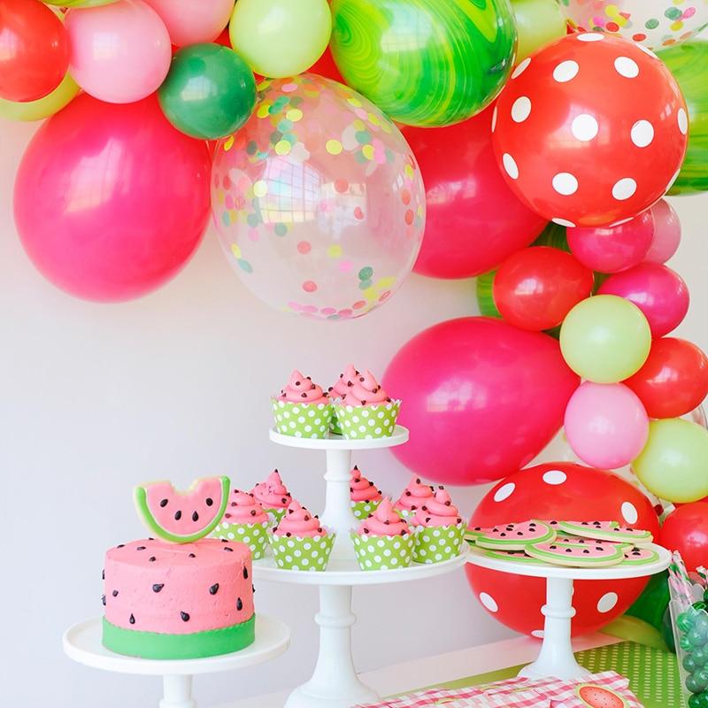 Летние вечерние шары с арбузом, розовые, красные, зеленые шары, арбузная вечеринка на день рождения вечерние воздушные шары «сделай сам»