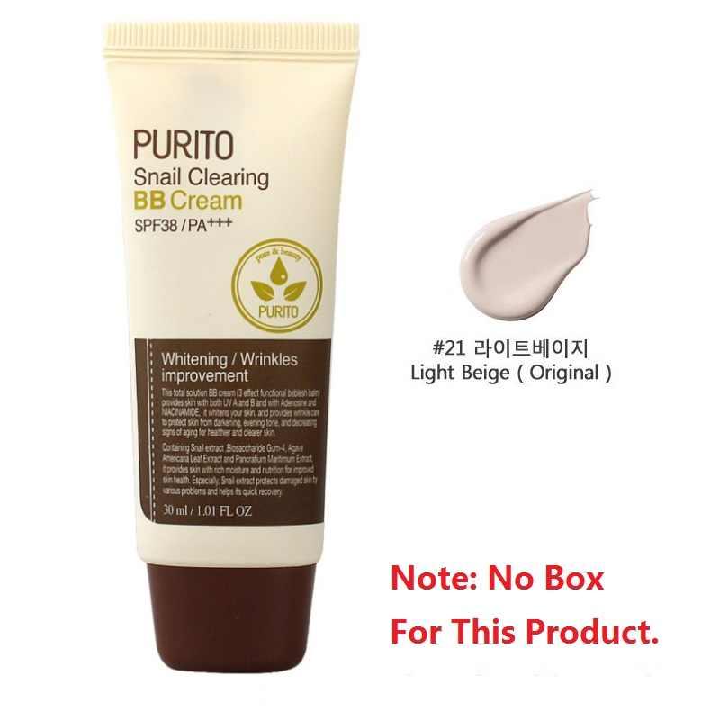 PURITO salyangoz temizleme BB krem SPF38/PA + + + #21 mükemmel kapatıcı salyangoz özü BB krem güneş koruyucu cilt aydınlatmak kalıcı bakım