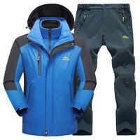 Men Women Winter Waterproof Outdoor Suit Softshell Jackets And Pants Hiking Fishing Climbing 3 In 1 Fleece Jackets Set Plus Size