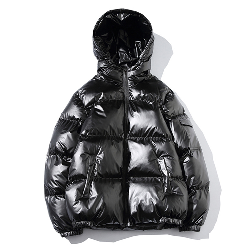 2019 Women's Down Jacket Winter Glossy Silver/Black/Gold/Blue Plus Size Hooded Parka Outerwear Down Padded Coats Female