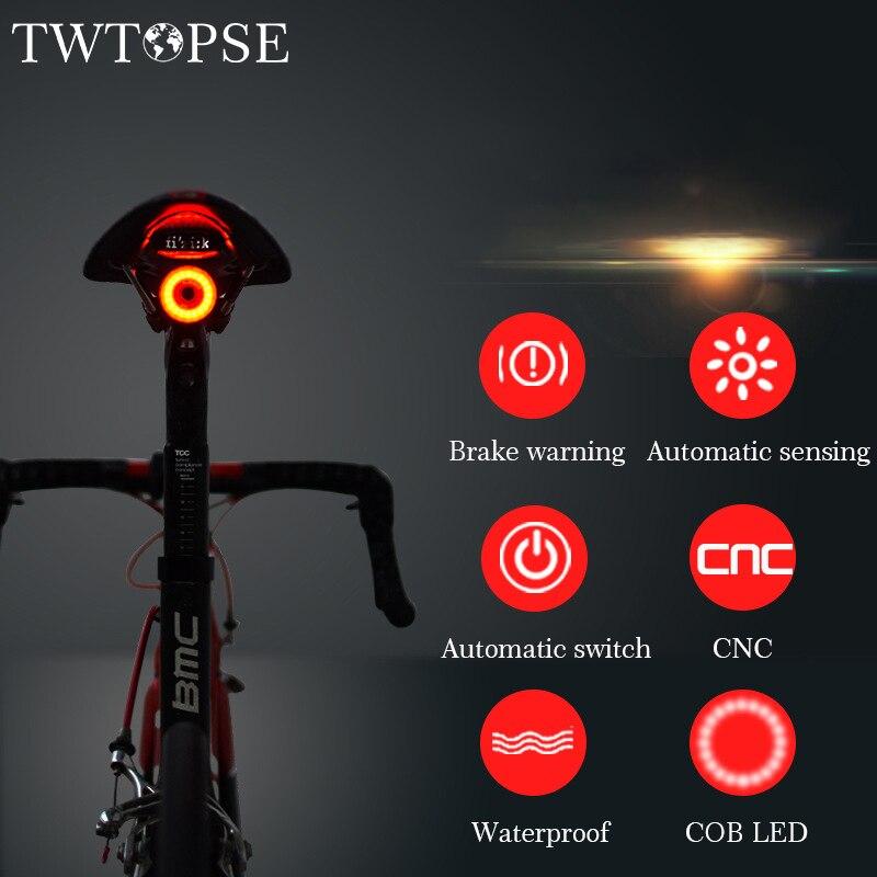TWTOPSE Intelligent vélo vélo feux frein avertissement détection automatique cyclisme vtt route vélo queue feu arrière lampe accessoires