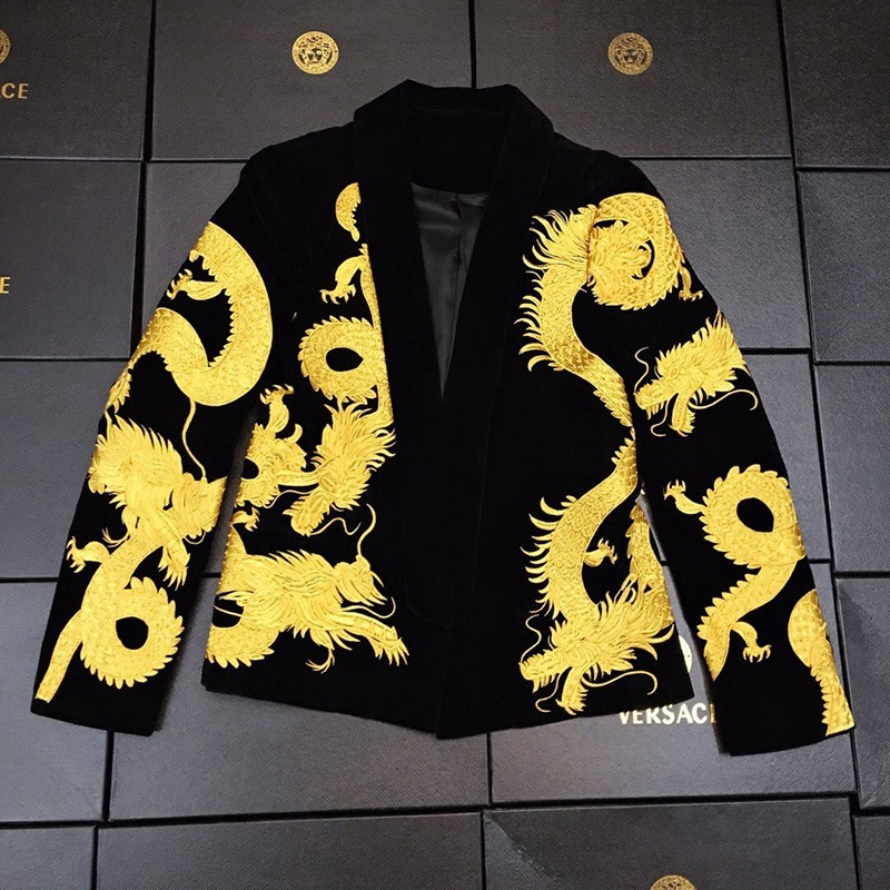 High Quality Chinese Style Dragon Embroidery Mens Velvet Blazer Casual Vintage Nightclub Singer Show Suit Slim Fit Male Coats
