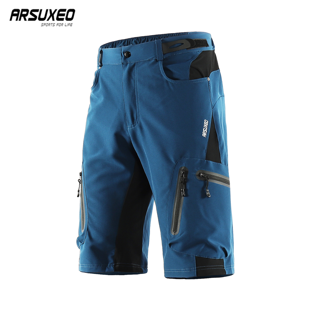 ARSUXEO Men's Cycling Shorts Loose Fit Bike Shorts Outdoor Sports  Bicycle Short Pants MTB Mountain Shorts Water Resistant 1202
