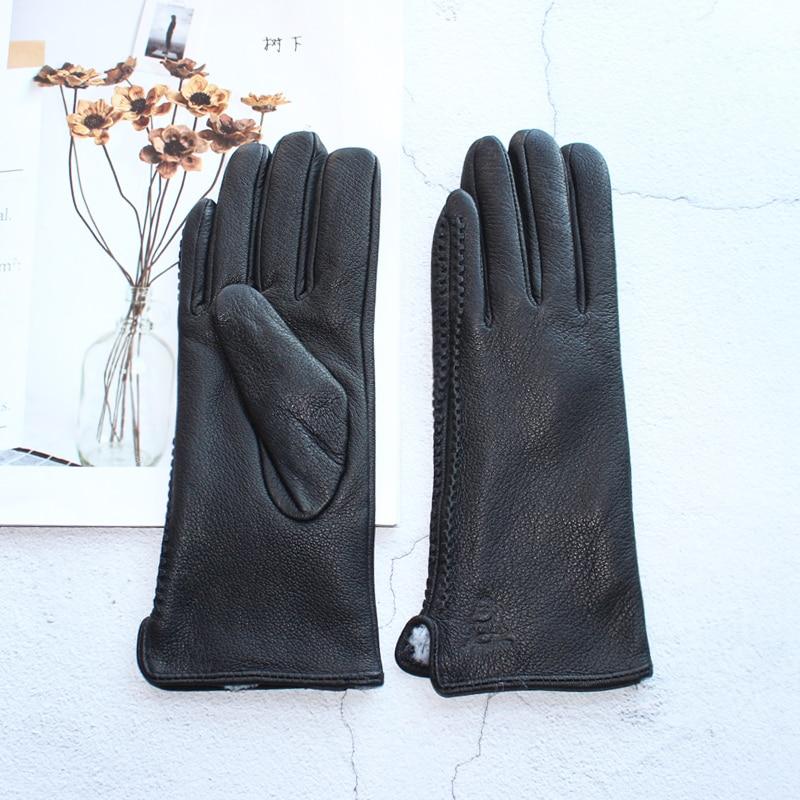 New 100% Genuine Leather Women's Gloves Velvet Lining Thin Section Driving Black Deer Skin Gloves Keep Warm In Winter