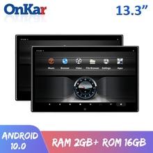ONKAR 13.3นิ้ว Android 10รถ Headrest Monitor 2 + 16GB 4K 1080P บลูทูธ FM Miracast WIFI SD Card HDMI Mirroring