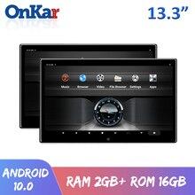 ONKAR 13.3 Cal Android 10 Monitor montowany za zagłówkiem samochodu 2 + 16GB 4K 1080P wideo Bluetooth FM Miracast WIFI karta SD ekran HDMI Mirroring