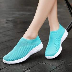 Image 2 - Moipheng 2020 Women Sneakers Vulcanized Shoes Sock Sneakers Women Summer Slip On Flat Shoes Women Plus Size Loafers Walking Flat
