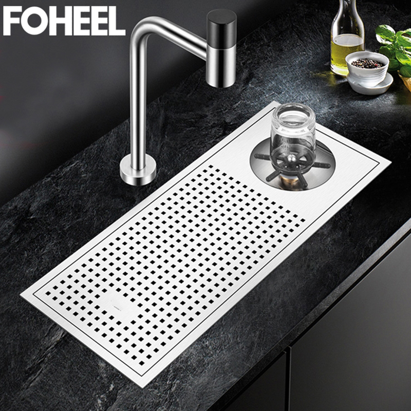 FOHEEL Bar Sink Kitchen Sink Cleaning The Cup Small Bezel Stainless Steel Coffe Sink Commercial Bar Above Counter Sink FKS16