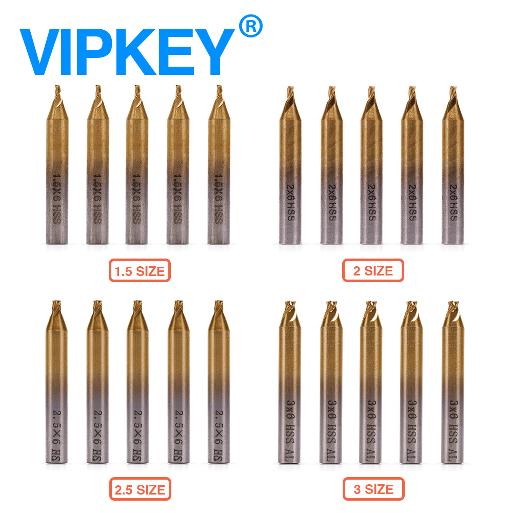 1.5mm 2.0mm 2.5mm 3.0mm hss-tin End frezy do pionowych kluczowych maszyn, wiertła narzędzia ślusarskie
