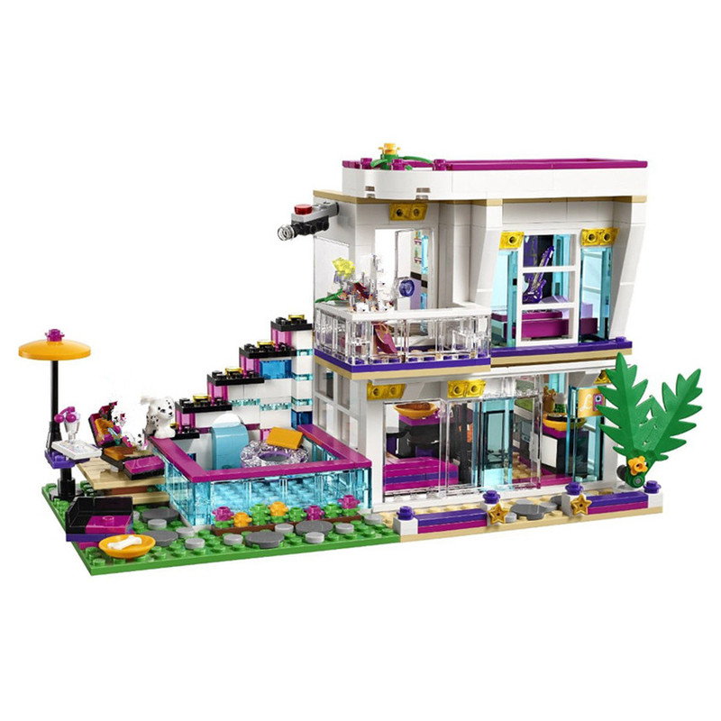 Building Block <font><b>10498</b></font> Compatible Lepinblock Friends Livi's Pop Star House 41135 Emma Mia Figure Educational Toy For Children image