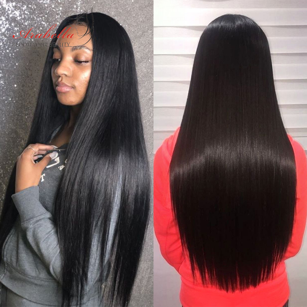 Super Double Drawn Virgin Hair Bundles Arabella  Straight Hair For Top Customer 100%  Bundles With Closure 6