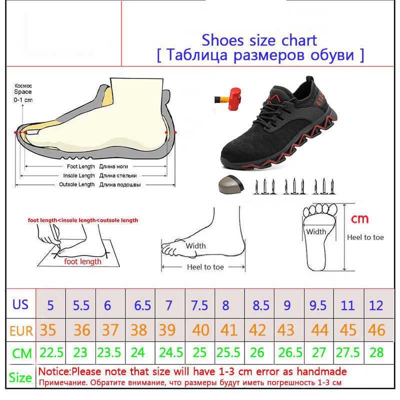 Dropshipping çelik burunlu güvenlik ayakkabıları erkekler hafif Anti-Crush çalışma Unisex nefes aşınmaya dayanıklı Sneakers hem erkekler hem de Wo