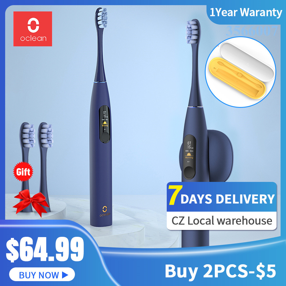 New Oclean X Pro Blue Sonic Electric Toothbrush For Adult IPX7 Ultrasonic Automatic Fast Charging Tooth Brush With Touch Screen
