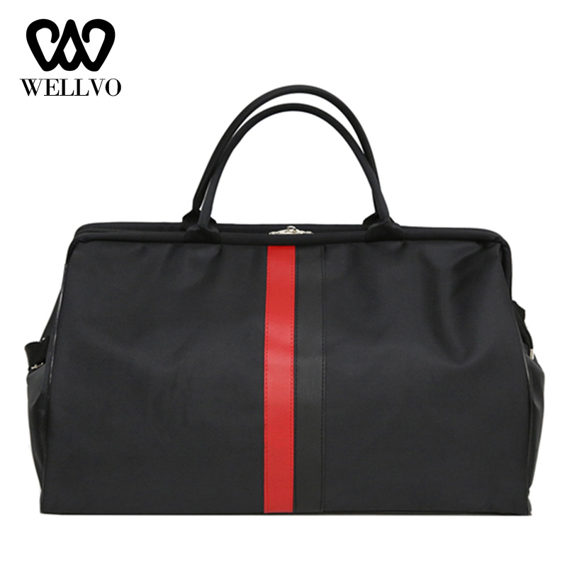 Women Travel Bag Weekend Outdoor Nylon Fitness Bags For Men Handbags Unisex Shoulder Bags Stripe Luggage Duffle Bag Hot XA802WB