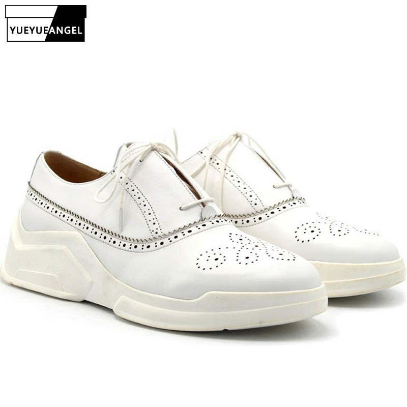 2020 New Fashion Men Wing Tip Brogue Shoes Tenis Sneakers Med Heels Lace Up Genuine Leather Casual High Street Platform Shoes