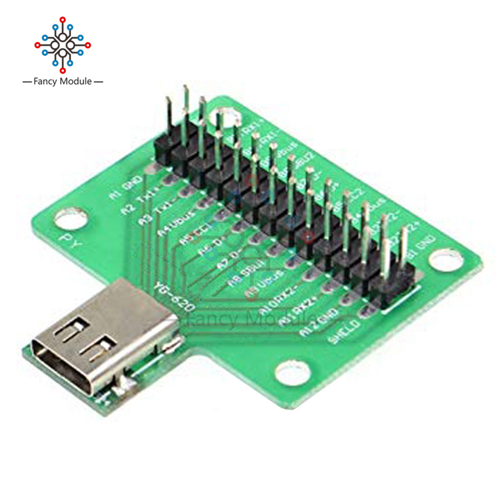 USB 3.1 Type-C Cable Test Board 24 PIN Type-C Female Plug Jack To DIP Adapter Connector Welded PCB Converter Pinboard