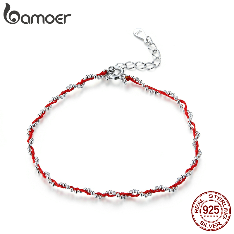 Bamoer Black And Red Rope Bracelet With 925 Sterling Silver Beads Chain Bracelets For Women 2020 New Year Gift Friendship SCB173