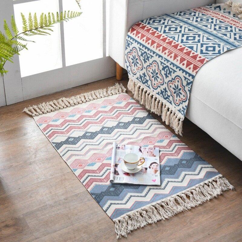Polyester Nordic Style Carpet With Tassel Non-slip Washable Retro Cotton Floor Mat For Bathroom