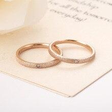 Детонационный высококачественный модный простой скраб из нержавеющей стали женский циркон обручальное кольцо 2 мм ширина розовые кольца золотистого цвета подарок c