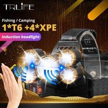 חכם IR חיישן LED פנס אור 5/3 T6 זום גבוהה כוח נטענת דיג פנס 18650 ראש לפיד עמיד למים