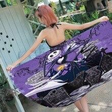 The Nightmare Before Christmas 3D Print Microfiber Fabric Beach Towel for Summer Holidays Anime Jack Purple Bath Towel Quick Dry