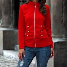 Women s Stand Collar Zipper Coat Jacket Solid Slim Patchwork Female Button Jackets 2020 Autumn New