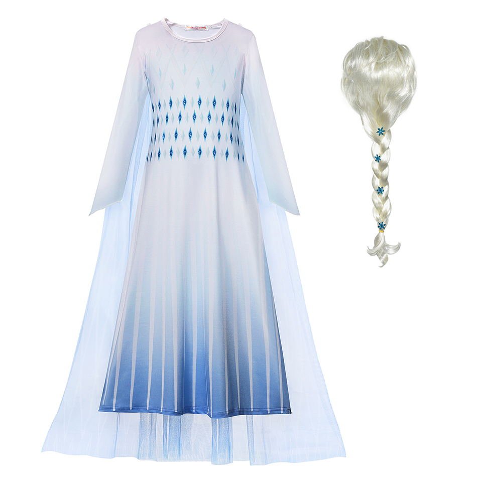 New Snow Queen 2 Elsa White Dress Girls Christmas Costume Cosplay Cartoon Elza Kids Cosplay Party Dress Fancy Birthday Gowns