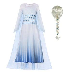 Robe blanche Elsa reine des neiges 2 pour filles | Tenue de fête fantaisie d'anniversaire, design de dessin animé Cosplay Elsa, nouvelle collection