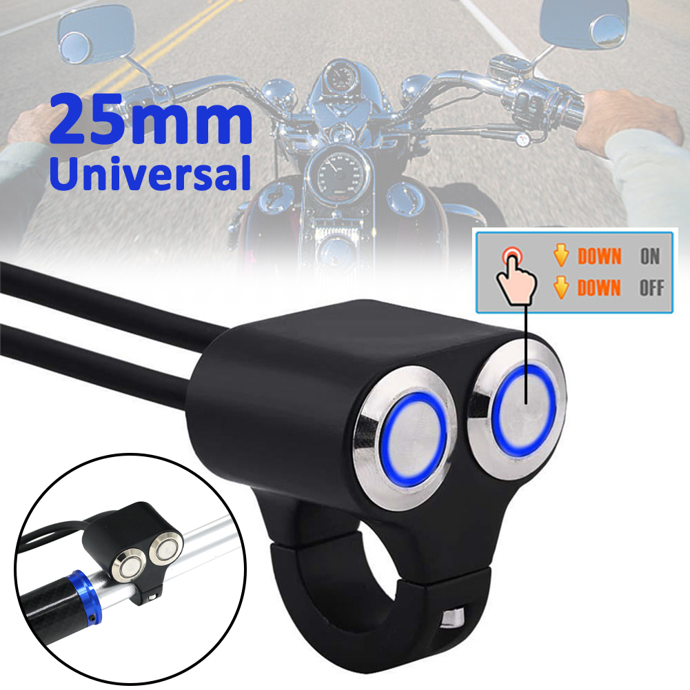 2 x CNC Motorcycle Cafe Race Handlebar 22mm Self Latching Switch 3 Reset Buttons