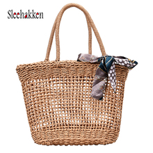 Women Fashion Weaving rattan bags for luxury manual handbags sac femme Vacation straw ribbon beach bag Bohemian style handbag