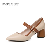 ROBESPIERE Pointed Toe Round Heel Women Pumps Fashion Buckle Strap Mixed Colors Mary Jane Shoes Casual Shallow Wedding Pumps A32 women s velvet med heel comforable mary jane pumps brand designer round toe spring new female cute footwear shoes for women sale