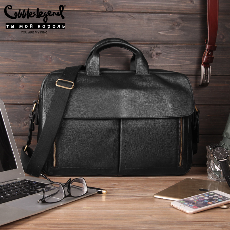 Cobbler Legend Genuine Leather Business Briefcases Men Vintage Black Laptop Bag For 14
