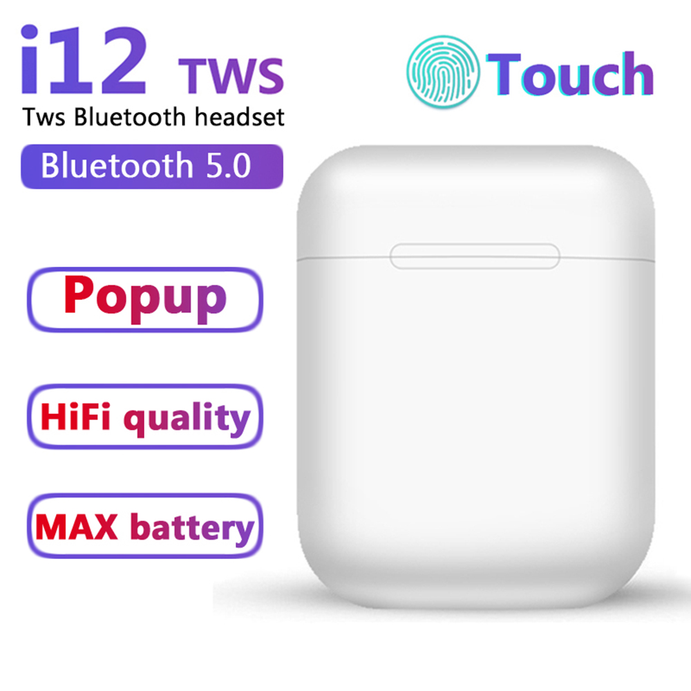 I12 TWS Bluetooth 5.0 Headphones Wireless Sports Sweatproof Earphones Popup Headset Touch Portable Earbuds I11 I7s I20 I60