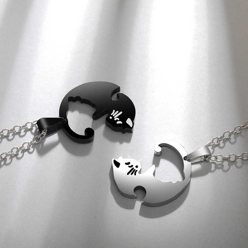 Cặp Đôi Tình Nhân Cổ Dễ Thương Mèo Hoạt Hình Mặt Dây Chuyền Đẹp, Mặt Dây Chuyền Nam Bạc Vàng Màu Đen Động Vật Trang Sức Đeo Quà Tặng Cho Bé Gái Bé Trai