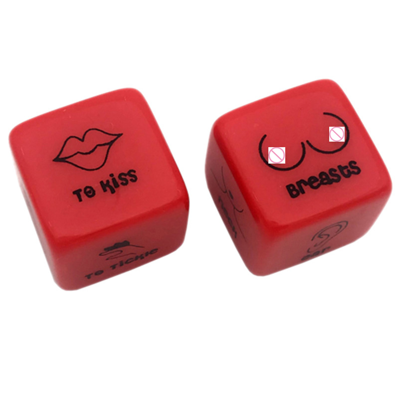 2Pcs/Pair 18Mm Dice Set Red Acrylic Club Party Sex Gambling Erotic Dice Toy Couple Novelty Love Funny Punishment Gift Board Ga